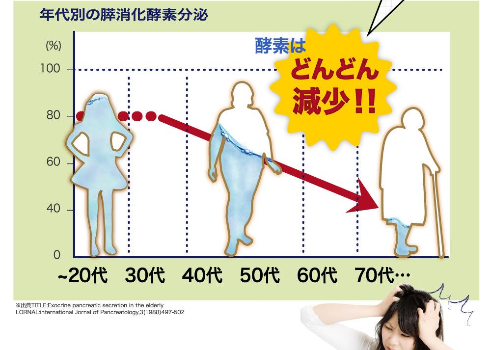 体の酵素は加齢とともに減少します